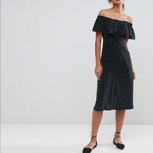 Whistles | Off Shoulder Ruffled Polka Dot Dress